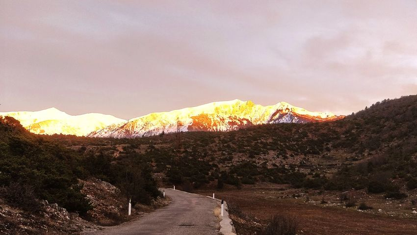 Oh What a Welcoming View ALBANIA❤️ Erseka Gramozi Mountain Landscape Nature Desert Outdoors Scenics Beauty In Nature No People Sky Rural Scene Mountain Range Sunset