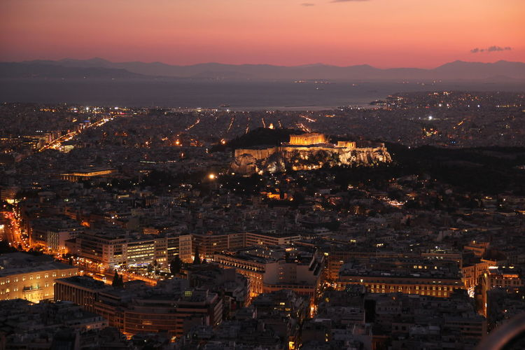 View of the Parthenon Acropolis, Athens Athens, Greece Parthenon Acropolis Greece View Athens City Cityscape Greece Illuminated Night Outdoors Sky Sunset Travel Destinations