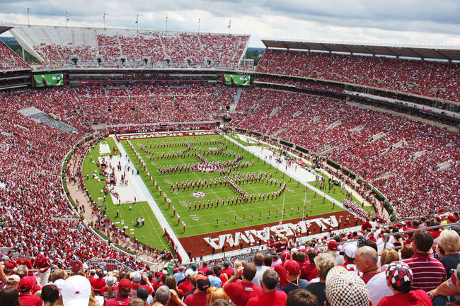 They University of Alabama Million Dollar Band spelling out Bama during pregame of a fall football game. Arts Culture And Entertainment Bama Bryant Denny Stadium Crimson Tide  Crowd Event Football Fun Large Group Of People Marching Band Million Dollar Band Pregame Spectator Sport Sports Stadium Tuscaloosa University Of Alabama Watching The Color Of Sport