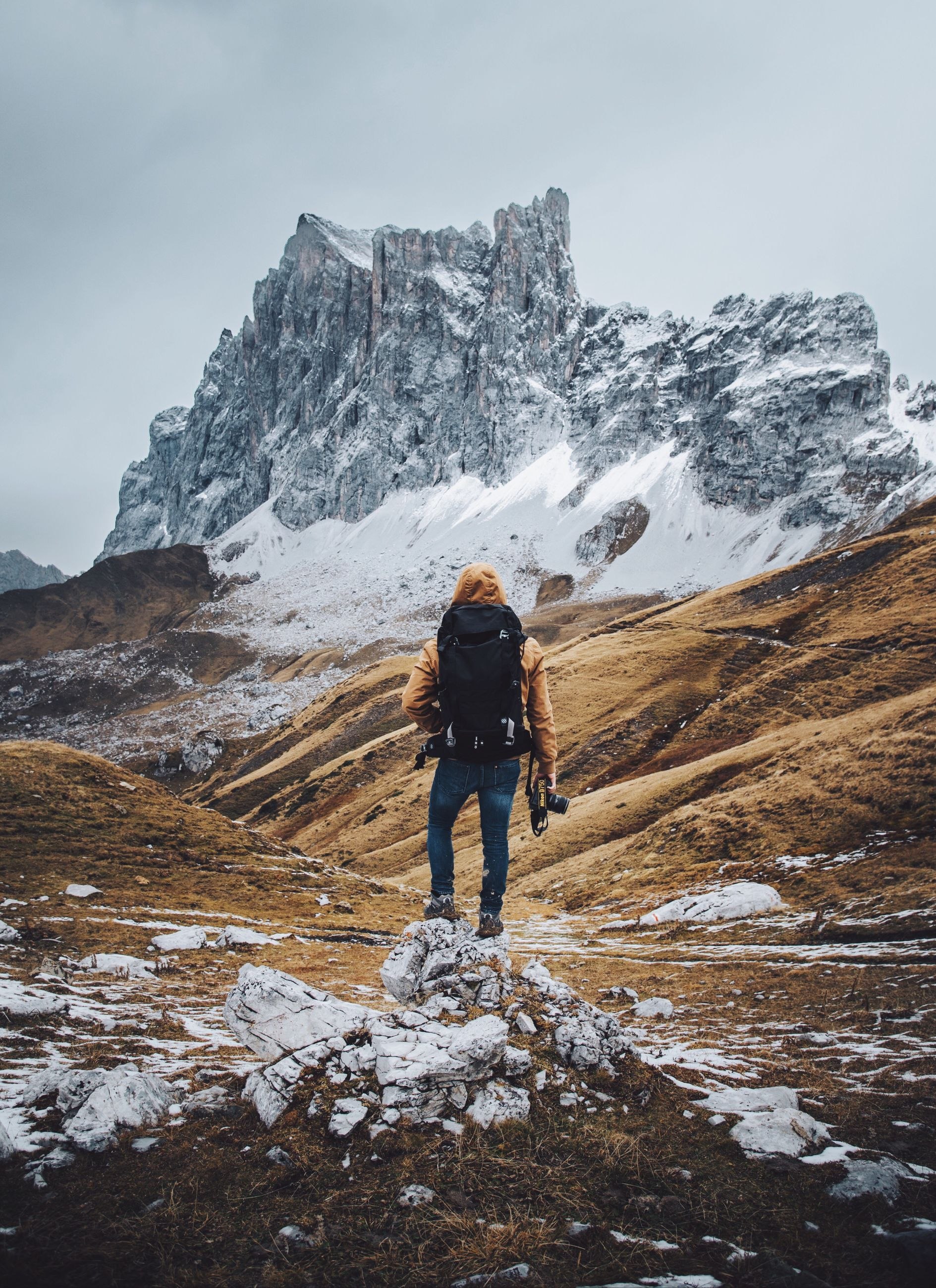 real people, nature, sky, lifestyles, rear view, one person, outdoors, winter, snow, mountain, men, cold temperature, leisure activity, adventure, beauty in nature, landscape, scenics, day, cloud - sky