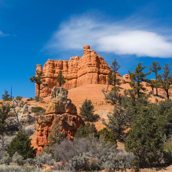 View of rock formations on landscape against sky