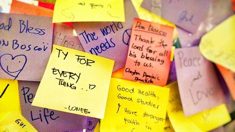 Words on the wall. Postits Notes Thankful Colorful POTD Photooftheday Cebu Donbosco 032igers Instagrammerscebu Pattern Pieces