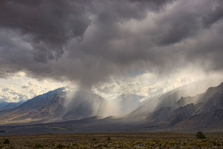 Stormy mountain landscape Cloud - Sky Mountain Environment Scenics - Nature Beauty In Nature Sky Landscape Mountain Range Storm Storm Cloud Nature No People Land Overcast Rain Mountain Peak Ominous Power In Nature Horizontal Composition Dramatic Landscape Weather Eastern Sierras, CA