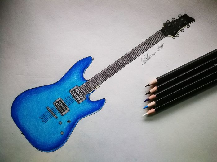 Drawing Drawing Guitar Blue Color Pencil Paper EyeEmNewHere Blue Indoors  No People Close-up Day