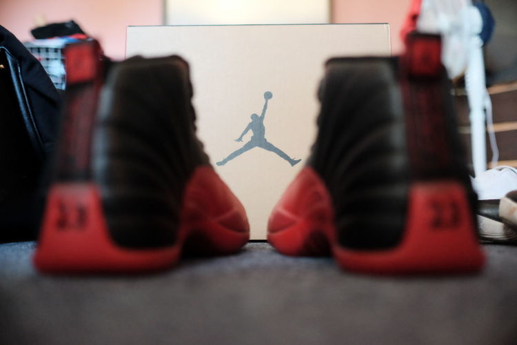 Absence Close-up Empty Focus On Foreground Furniture Jordans Kicks Multi Colored No People Red Selective Focus Shoes Sneakers Still Life