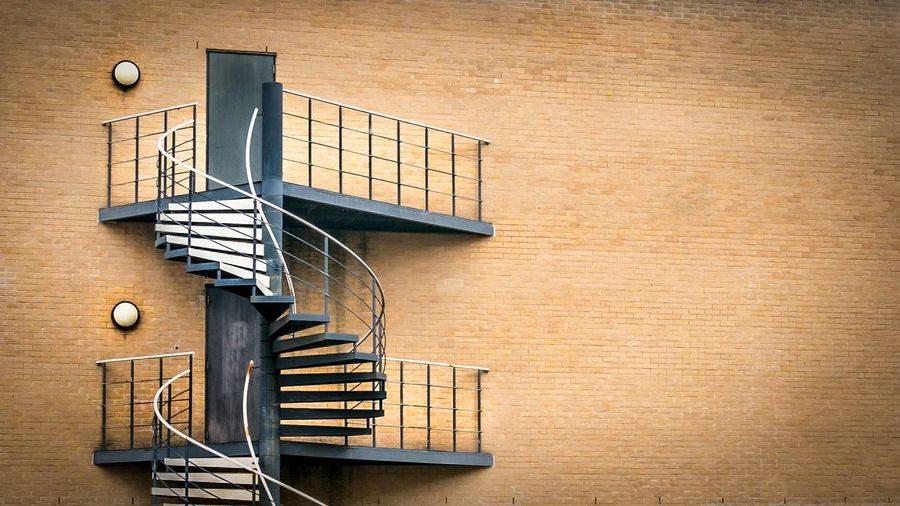 Spiral Staircase On Building Exterior