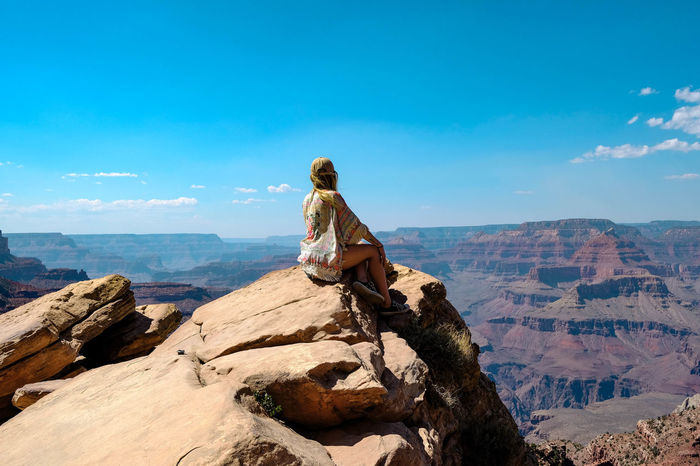 Grand Canyon views.... Sitting Women Blue Young Women Rock - Object Sky Landscape Hiker Rock Formation Arid Climate Geology Rugged Canyon Arid Landscape Desert