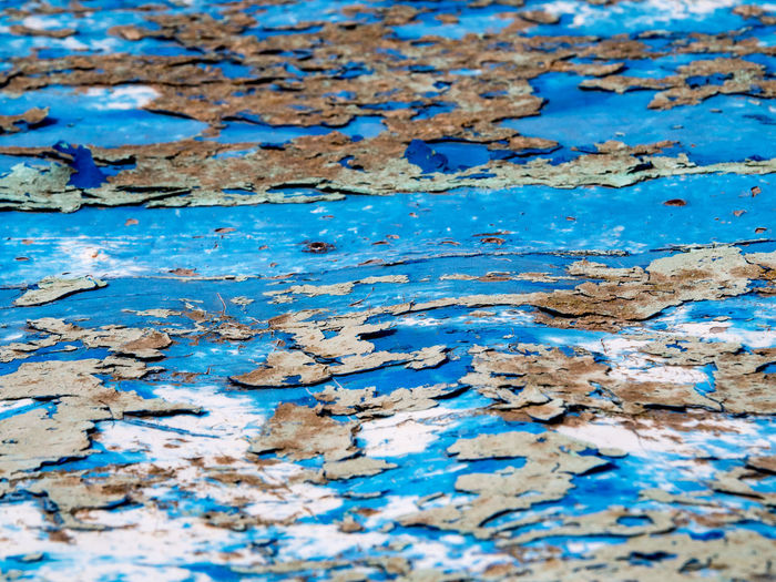 Colors on boat details Paint Backgrounds Blue Close-up Crumbling Day Full Frame No People Pattern Rusty Spalling Surface Textured  Weathered