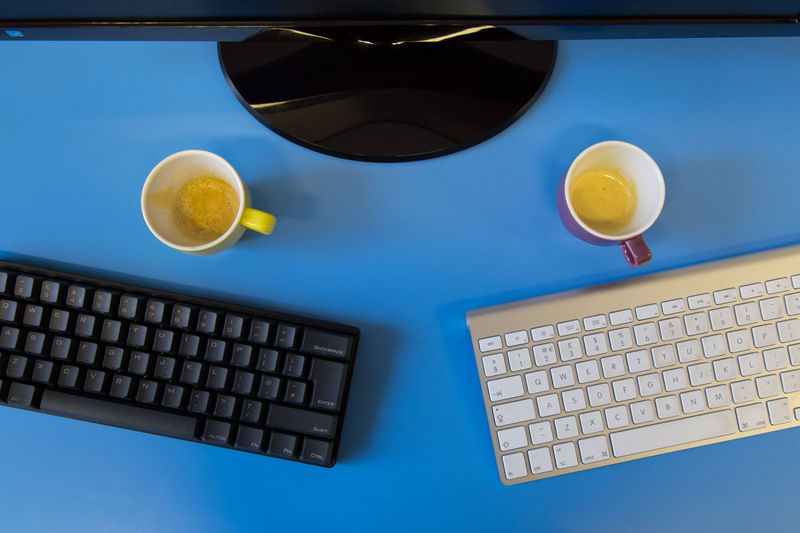 Black And White Close-up Coffee Colorful Colors Communication Control Couple Desks From Above Directly Above Dualism Duality Indoors  Keyboard Modern Office Order Pair Programming Still Life Table Tech Technology Wireless Technology
