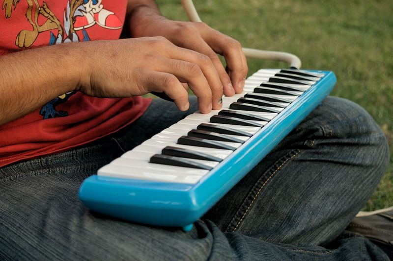 Midsection of man playing synthesizer on field