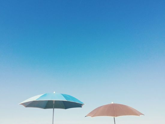 ⛱⛱ Beach Umbrella Sun Umbrella Umbrella Beach Beachphotography Beach Life Summer Summer Vibes Check This Out Simplicity Minimalism Blue Sky Blue Costa Brava L'Empordà Sky Summer Views The Week On EyeEm Two Is Better Than One