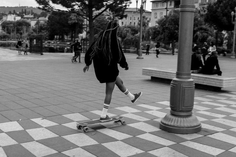 Blazing down the street Longboard Skateboarding Skate Stretphotography Street Girl France Nice Bnw Blackandwhite