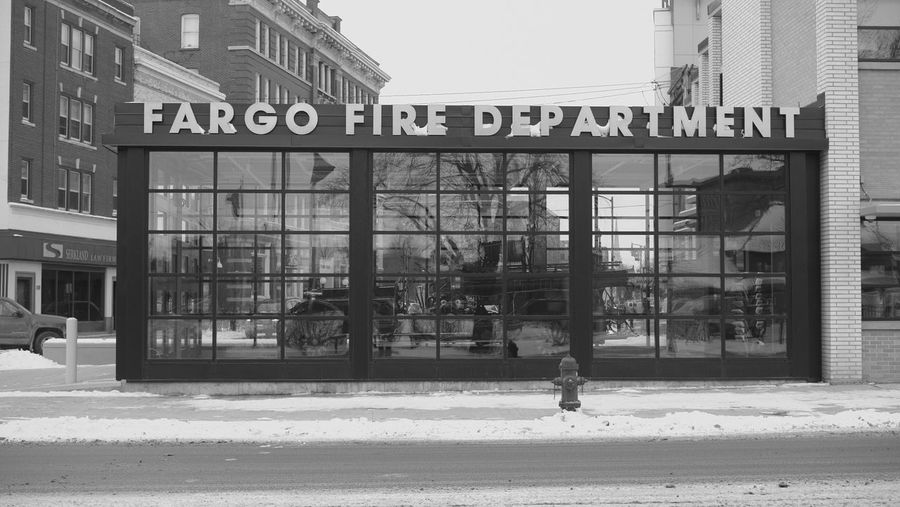 December 19, 2016 / Downtown Fargo Architecture Black And White Building Exterior Built Structure City Cultures Day Downtown Fargo Fargo Fire Department Monochrome No People North Dakota Outdoors Road Sign Text