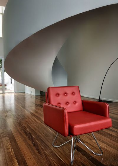 Red Chair Water Red Chair Architecture Concrete Hardwood Floor Hardwood Parquet Floor Flooring Knotted Wood Floorboard Concrete Wall Wood Laminate Flooring Cement Home Showcase Interior Arch Office Building Penthouse Arch Bridge Archway Wooden Rug