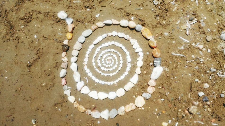 Circle High Angle View Art And Craft Concentric Sand Pattern Directly Above Day No People Outdoors Beach Close-up
