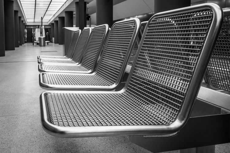 Bench Black & White In A Row Station The Week On EyeEm Black And White Close-up Empty Indoors  Metal No People Pattern Seat Seating Seating Bench