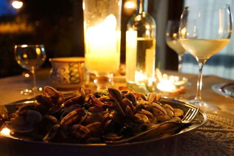 Close-Up Of Seafood Served In Plate On Table At Restaurant