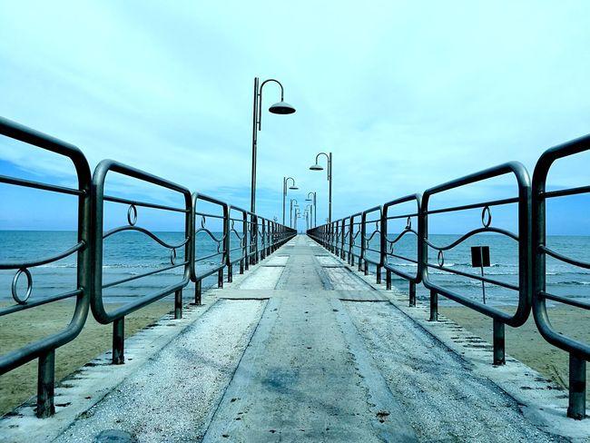 Railing Sky Sea The Way Forward Outdoors Beach Horizon Over Water Colour Your Horizn