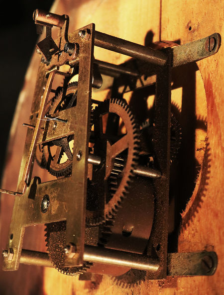 Clock Clockworks Close-up Gear Machinery Metal Old-fashioned Technology