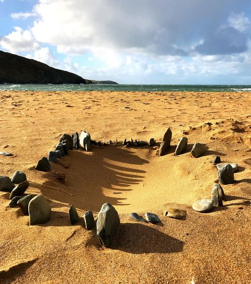 Beach Stones Sand Beach Sky Cloud - Sky Sunlight Nature Sea Outdoors Tranquility Day Tranquil Scene Cardigan Bay West Wales U.K. Beautiful No People Water