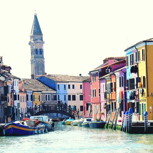 Burano, Venice Architecture Building Exterior Built Structure Transportation Nautical Vessel Mode Of Transport Boat Clear Sky Water Waterfront Canal Land Vehicle River Walkway Day Outdoors Place Of Worship Tourism Sky Tall - High