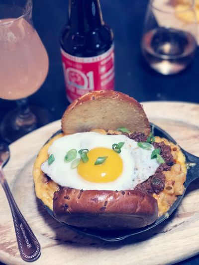 Sloppy Joes Mac (From Beer Belly). Egg Food And Drink Fried Egg Ready-to-eat Indoors  Serving Size ShotOnIphone The Street Photographer - 2017 EyeEm Awards EyeEm Best Shots Beerbelly