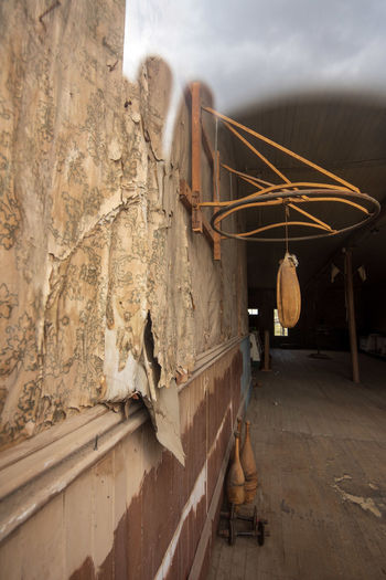 Interior of abandoned exercise room in ghost town