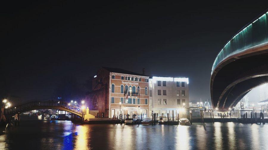 under the bridge Venice, Italy Calatrava City Water Illuminated Nightlife Politics And Government Nautical Vessel Cityscape Arts Culture And Entertainment Sky Architecture
