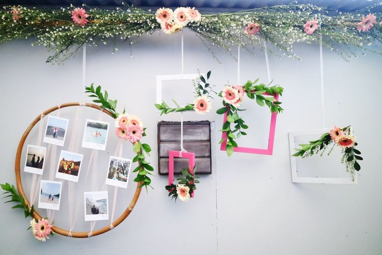Potted plants hanging against wall at home