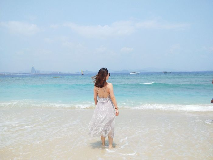 Water Young Women Wave Sea Beach Beauty Women Back Sand Summer