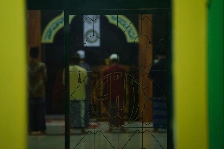 Digital composite image of open door