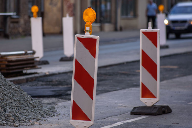 Traffic barricade. Road repair sign. Road Protection Red Road Repair Road Sign Safety Security Sign Street Traffic Barricade Traffic Barrier Traffic Barriers