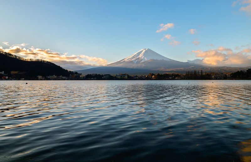 Scenic View Of Lake Against Mt Fuji During Sunset