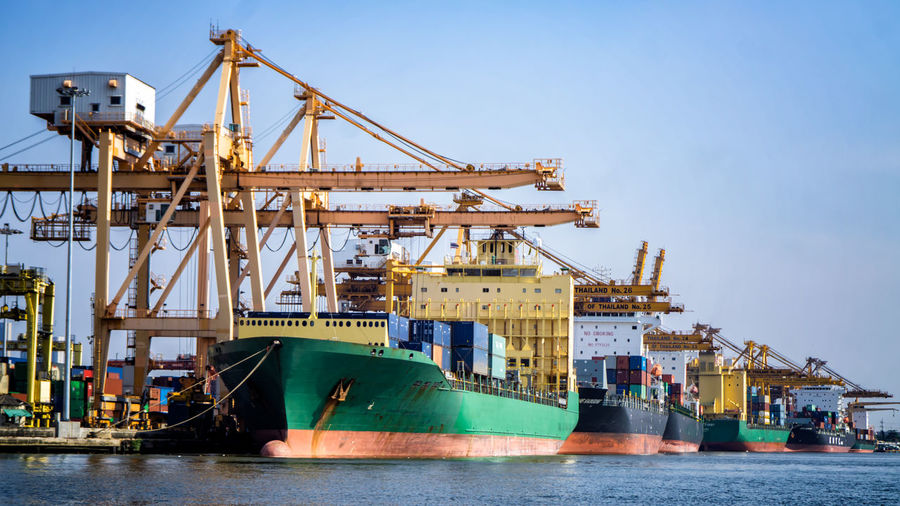 Transportation Industry Nautical Vessel Shipping  Freight Transportation Machinery Crane - Construction Machinery Ship Business Mode Of Transportation Commercial Dock Container Harbor Pier Cargo Container Container Ship Transportation Industry Pier Container Ship Industrial Ship Harbor Loading Container Unloading Business Machinery Shipping