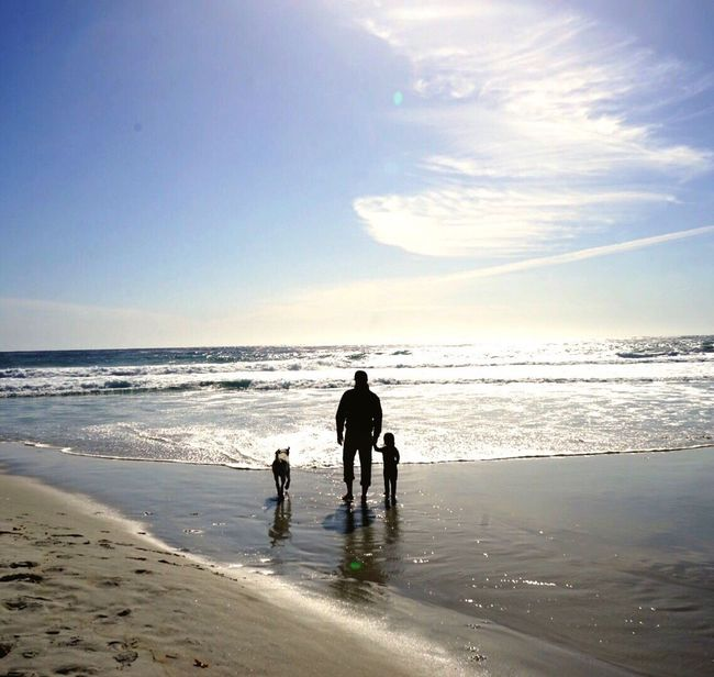 Fatherhood Moments Beach California Cali California Love California Coast Dog Family Father & Son Silhouette Road Trip ♥ Norcal