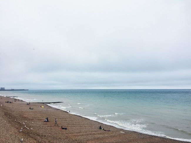 Brighton put on its best dress for me to take a Photo . The Wind kept blowing the flags and making Waves in the Sea