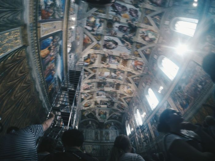 This photo was taken from my GoPro (circa September 2014) inside the Sistine Chapel fresco at the Vatican City. After this shot was taken, the guards kicked us out. No buts or whys, they just dragged us out. Terrifying and we felt guilty on breaking their rules as it's the only way to preserve the beauty of Michaelangelo's creation. He's truly a legend! Break The Mold Frescoes Architecture Fresco Sistine Chapel  Imperfections Perfectly Imperfect Blurred Showing Imperfection