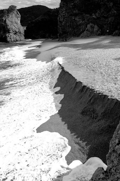 Rock - Object Geology Water Sand Physical Geography Tranquility Beach Cliff Tide Backwash Catalunya Blackandwhite Black&white