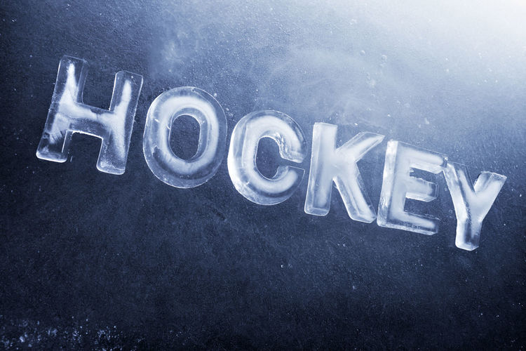 Word Hockey written with real ice letters.