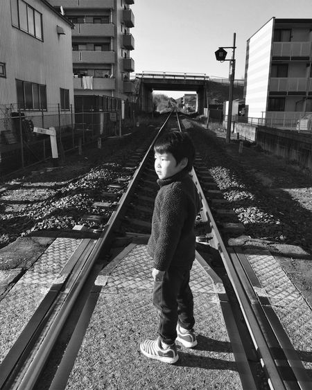 Japan Building Exterior Built Structure Full Length Architecture Outdoors Childhood Railroad Track City One Person Day Real People Sky Holiday Family People Child Railway Long Goodbye Art Is Everywhere The Photojournalist - 2017 EyeEm Awards Let's Go. Together. Be. Ready.