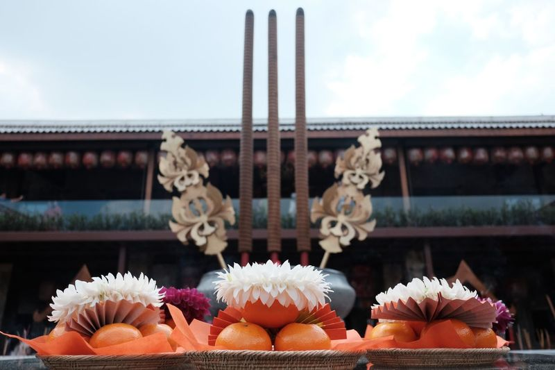 Low Angle View Of Decoration At Temple Against Sky