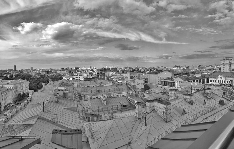 Moscow Roofs June 2018 Daytime Buildings & Sky City Street Cityscape Panoramic Landscape Panoramic View Panoramic Photography Panoramic Panorama Urban Photography Urban Landscape Urban Geometry Urban Skyline Black&white Black And White Photography Rooftop View  Rooftop Sky And Clouds Architecture Built Structure Building Exterior Cloud - Sky Sky City Building Roof Community TOWNSCAPE