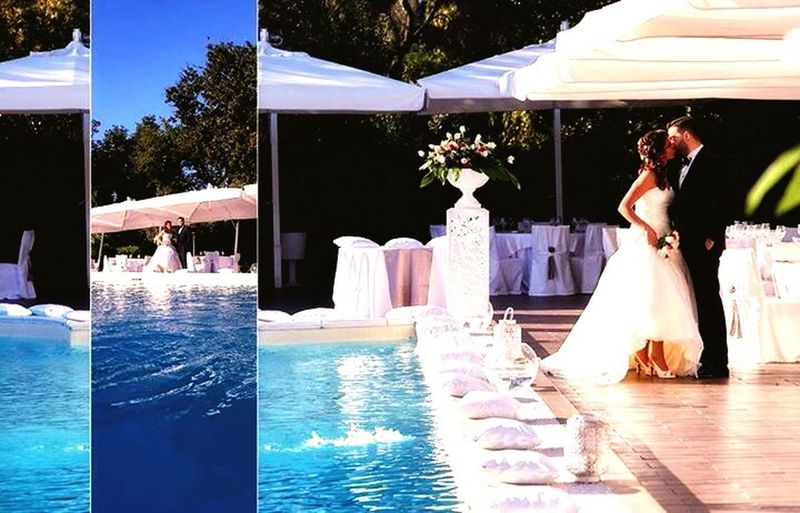 Wedding Bride Water Swimming Pool Wedding Dress Celebration Real People Life Events Day Outdoors Married Campiflegrei Villaeubea Gruppolaringe Pozzuoli