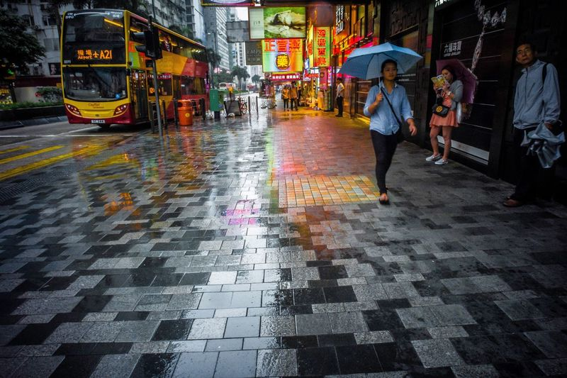 Travel Trip Memory Mementos Rain Wet Reflections Street City Street City Tsim Sha Tsui HongKong So Far So Close