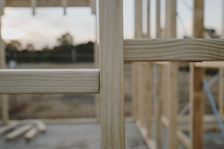 House Stud Wall Being Built Construction Construction Site Absence Architecture Barrier Boundary Building Building A House Built Structure Close-up Day Focus On Foreground Framework No People Outdoors Pattern Studs Wall - Building Feature Wall Stud Wood - Material Wooden Framework
