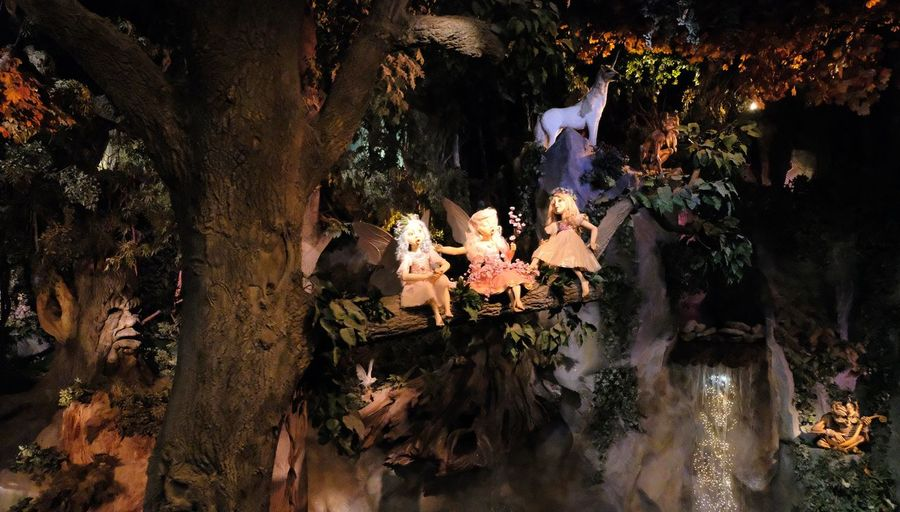 Attraction theme park the Efteling, Kaatsheuvel, the Netherlands. Tree Plant Real People Women Group Of People Nature Religion Adult Men Night Outdoors Belief Spirituality Tree Trunk Trunk People Standing Illuminated Group