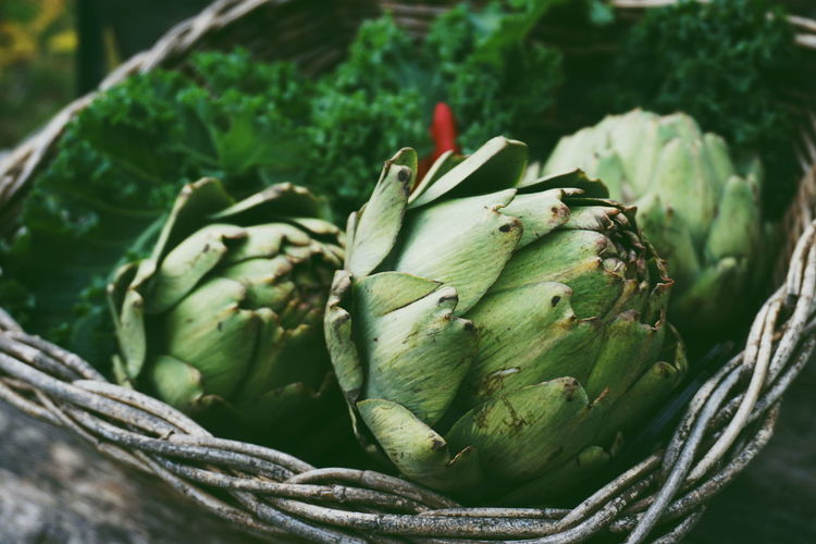 Close-up of artichokes in basket