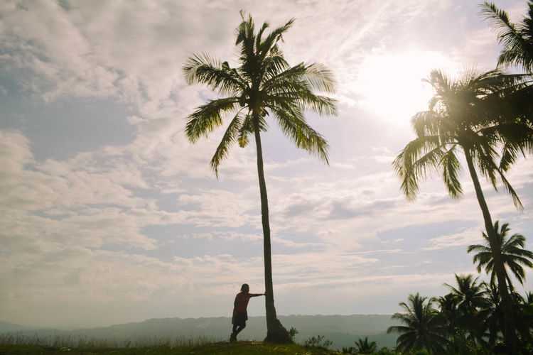 Silhouette man standing by palm tree against sky