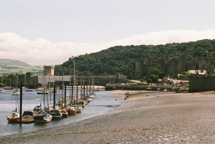 Conwy Marina Beach Cloud - Sky Conwy Conwy Castle Conwy Castle Estuary In A Row Moored Nautical Vessel Outdoors Scenics Sea Sky Transportation Wales Water