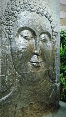 Buddha Buddism Religion Religious  Fountain Garden Fountain Carved Carved Stone Face Calm Calmness Serenity Serene Tranquility Water Wet